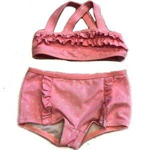 Janie & Jack Pink Polka Dot Ruffle Bikini